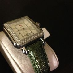 🍃MICHELE 18MM SAFARI GREEN LEATHER BAND🍃 AUTHENTIC BRAND NEW NEVER WORN MICHELE 18MM LEATHER STRAPS .. MY PRICE IS FIRM THANK YOU AND HAPPY POSHING 💕😊👍🍃... Michele Accessories
