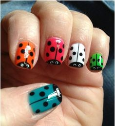 Lady Bugs, HOW CUTE!  So easy to design your nails with  MOYOU nail art kits! Visit our website! www.lvnailart.com