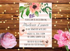 Set of Printed Invitations + Envelopes or Digital File - Striped Floral Watercolor Bridal Wedding Shower or Baby Shower Invitation by PalmsandPeonies on Etsy https://www.etsy.com/listing/237754312/set-of-printed-invitations-envelopes-or