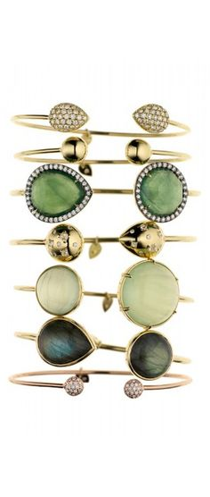 Shades of Emerald  ::::: ❥  Gemstone Gold Bangles by Jemma Wynne