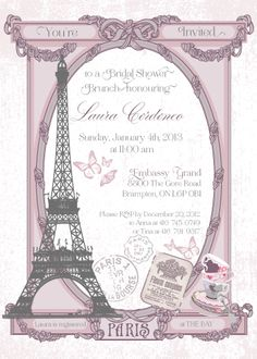 Paris themed brunch bridal shower invitation