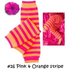 Pink and orange striped baby leg warmers
