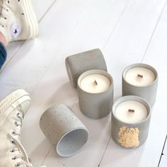 Natural soy candle gold & gray concrete, organic soy wax, candles in cement vase… – Soy Candles İdeas Gold Candles, Soy Wax Candles, Soy Candle, Vegan Candles, Candle Containers, Candle Jars, Bougie Candle, Concrete Candle Holders, Candle Making Business
