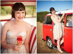 Fun in the sun - a summer shoot featuring ruby reds, glittering golds and an ice-cream cone bouquet!   Nikole Ramsay Photography
