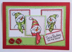 A cheery Christmas snowman times three! #Cre8time for fun with #Stampendous