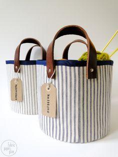Tutorial - DIY Fabric Leather Storage Baskets