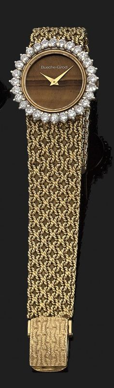 BUECHE-GIROD VERS 1960 Montre bracelet de dame en or jaune. Cadran œil de tigre avec aiguilles