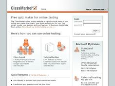 Online testing - I use it for quizzes in my senior math and physics classes. Students are assigned a login and password. They take the quiz outside of classtime and classmarker tabulates the results for me. Quiz Maker, Online Tests, Web 2, Quizzes, Maths, Homeschooling, Create Yourself, Physics, Students