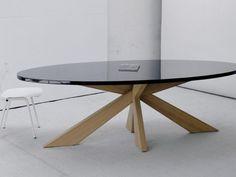 longlegs ovale tafel hoogglans zwart