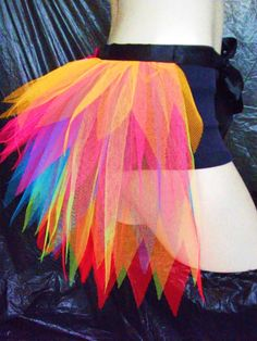 Adult Ladies Neon Rainbow Half Tutu Bustle Net Over Skirt Seussical Costumes, Run Disney Costumes, Running Costumes, Dance Costumes, Disney Marathon, Princess Half Marathon, Tutu En Tulle, Costume Carnaval, Satin Noir