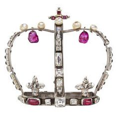 Antique Natural Pearl Ruby Diamond Silver Decorative Crown