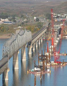 Old Four Bears Bridge and construction on new bridge