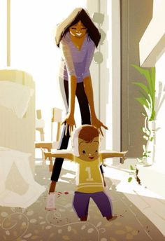 Illustrations by Pascal Campion Family Illustration, Character Illustration, Illustration Art, Pascal Campion, Baby Steps, Mothers Love, Mother And Child, Art Plastique, Amazing Art