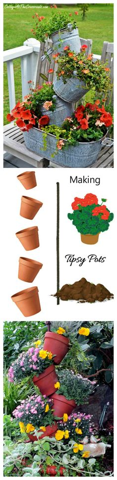 Tipsy Pots are dramatic and give great height to a garden planter. They are very easy to make too.