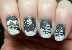 A snowy night. The nail art features a house covered with snow and surrounded by trees also covered by the falling snow in the middle of the winter night. Clear Nail Polish, Black Nail Polish, Nail Polish Art, Black Nails, Winter Nail Designs, Winter Nail Art, Winter Nails, Nail Art Designs, Mani Pedi