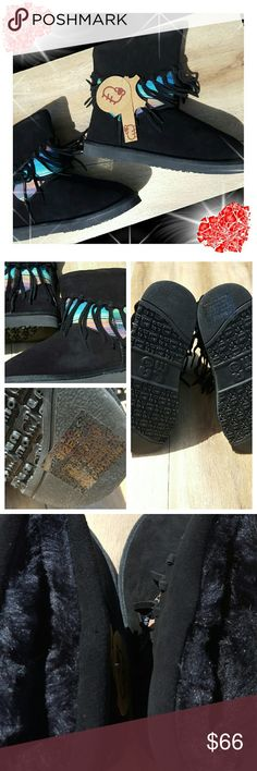 LAMO FOOTWEAR NWT LAMO FOOTWEAR Fringed Black boots with a beautiful coloring and fur inside lining never worn not even tried on SIZE 7 FUR LINED INSIDE  TAGS STILL ON ?PRICES NEGOTIABLE ? Lamo Shoes