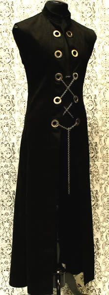 Hellraiser Cassock with Chains - Black Denim by Shrine Clothing Goth Mens Cassock Jackets