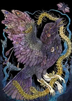 Black Door Horror commission piece by CaitlinHackett on DeviantArt Mythical Birds, Mystical Animals, Black Doors, Visionary Art, Horror Art, The Guardian, Dark Art, Cute Art, Art Reference