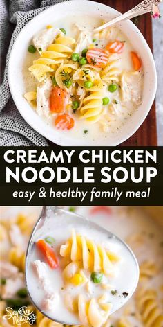 Comfort food in its simplest form! Do yourself a favor and make this creamy chicken noodle soup for a warm and cozy meal - you will not regret it! Filled with chicken, healthy vegetables and egg noodles, this is one of our favorite fall and winter meals. | #souprecipe #soup #chickensoup #dinnerrecipe #easydinner #comfortfood