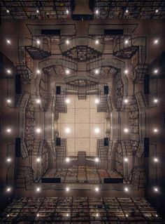 Mirrored Ceilings and Criss-Crossed Stairwells Give a Chinese Bookstore the Feeling of an M. Dungeons And Dragons Homebrew, D&d Dungeons And Dragons, World Of Fantasy, Fantasy Map, Fantasy City, Hokusai Great Wave, Rpg Map, Mirror Ceiling, Cabinet D Architecture