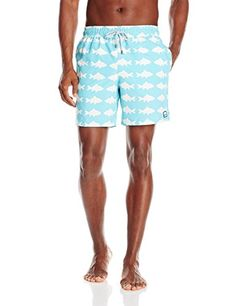 4649caff Tom Teddy Mens Fish Swim Trunks BlueWhite Small *** Click the VISIT button  to