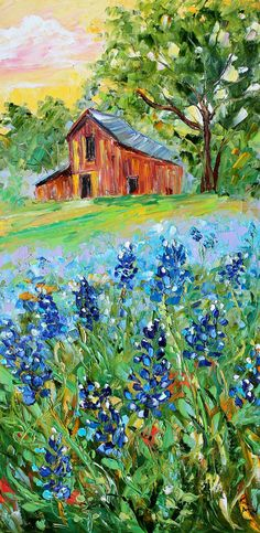 Original oil painting TEXAS BLUEBONNET LANDSCAPE palette knife impressioniistic fine art by Karen Tarlton. $225.00, via Etsy.