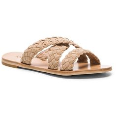 Raye Sahara Sandal Nude (€135) ❤ liked on Polyvore featuring shoes, sandals, braided sandals, slip on sandals, nude suede shoes, flat slip on sandals and woven sandals