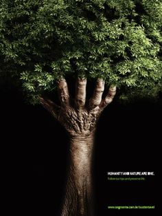 This is really effective in getting across the message, 'humanity and nature are one'. The imagery is also really interesting to look at with the use of light and shadow.
