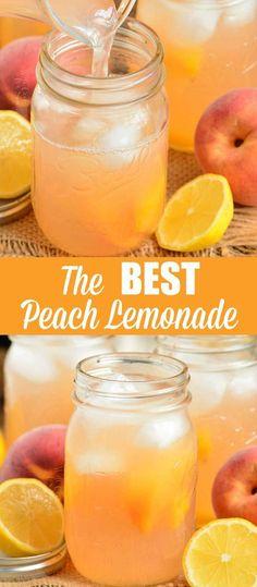 Peach Lemonade Recipes, Flavored Lemonade, Peach Drinks, Homemade Lemonade Recipes, Fruit Drinks, Cocktail Drinks, Healthy Drinks, Alcoholic Drinks, Beverages