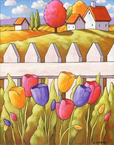 PAINTING ORIGINAL Spring Tulip Garden Fence, Folk Art Landscape Artwork 11x14