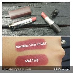 Drugstore Lipstick Dupes~MAC Twig vs. MAYBELLINE Touch of Spice-I Have A Dupe For That @ihaveadupeforthat Instagram photos | Websta (Webstagram)