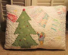 Primitive Christmas Applique PILLOW made from ANTIQUE Wedding Ring QUILT