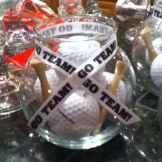 Table centerpieces for sports themed baby shower Sports Centerpieces, Glass Centerpieces, Baby Shower Centerpieces, Baby Shower Themes, Baby Boy Shower, Baby Shower Gifts, Baby Gifts, Shower Ideas, Golf Theme