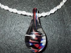 Spring Necklace Blown Glass Focal Pendant With Red by redbudcrafts, $10.00