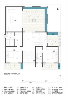 Image 21 of 23 from gallery of Hambarde Residence / Axis Design Studio. Second Floor Plan Ground Floor Plan, Second Floor, Photo Studio, Parking, Terrace, House Plans, Floor Plans, House Design, Modern Houses