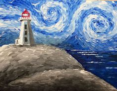 Learn to Paint Peggy's Cove Lighthouse tonight at Paint Nite! Our artists know exactly how to teach painters of all levels - give it a try! Diy Painting, Painting & Drawing, Watercolor Paintings, Van Gogh Watercolor, Lighthouse Painting, Beach Art, Vincent Van Gogh, Painting Inspiration, Art Lessons