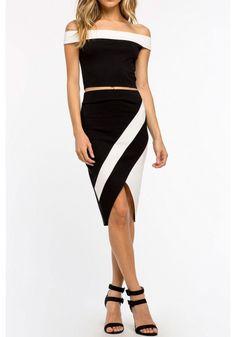 Black High Waist Black And White Stripe Asymmetric Hem Tight Skirt