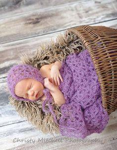 PATTERN Mohair Bonnet with Wrap Newborn by SweetPotato3Patterns