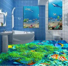 3d flooring custom waterproof  3d pvc flooring 3 d ocean world pebbles dolphins  bathroom flooring photo wallpaper for walls 3d-in Wallpapers from Home & Garden on Aliexpress.com | Alibaba Group