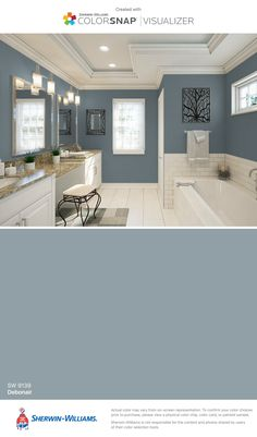 I found this color with ColorSnap® Visualizer for iPhone by Sherwin-Williams: Dorian Gray (SW ** Master Bath Bathroom Paint Colors, Interior Paint Colors, Paint Colors For Home, House Colors, Paint Colours, Paint Colors For Living Room, Wall Colors, Ideas Baños, Grey Paint