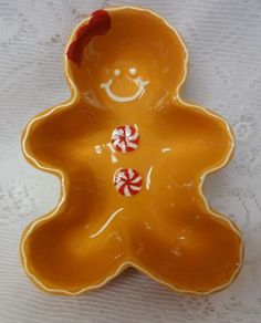 Vintage By Real Home Gingerbread Men Boy Girl Cookies Cinnamon 3pc Bowls Plates