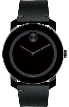Movado Bold - Large Movado BOLD watch, 42 mm black TR90 composite material and stainless steel case, black dial with black sunray dot and hands, black Colorado leather strap with black tack-stitch detail and black ion-plated stainless steel classic tongue buckle, K1 crystal, Swiss quartz movement, water resistant to 30 meters.