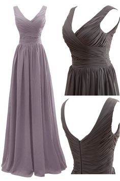 Elegant A-line V-neck Floor Length Chiffon Bridesmaid Dress with Pleats