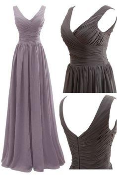 Elegant A-line V-neck Floor Length Chiffon Bridesmaid Dress with Pleats