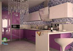 Avangard Desenli Lila Mutfak Mobilyası Modelleri | Mutfak Mobilyaları