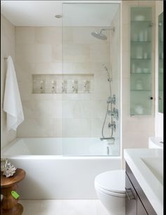 This is the inspiration photo for my bathroom makeover. It is absolutely perfect! Small Space Bathroom - contemporary - Bathroom - Other Metro - Toronto Interior Design Group Small Space Bathroom, Small Tub, Small Spaces, Small Bathroom Bathtub, Bathtub Alcove, Built In Bathtub, Relaxing Bathroom, Bathroom Large Tiles, Modern Bathrooms