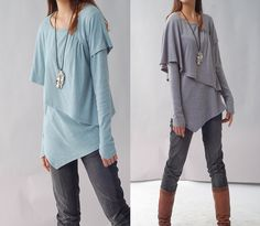 Leaves 3   asymmetrical layered top Y1217 by idea2lifestyle, $55.00