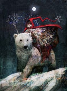 Christmas McKinnon's Santa Rides a Bear Art And Illustration, Christmas Illustration, Hedgehog Illustration, A Christmas Story, Christmas Art, Father Christmas, Fantasy Kunst, Fantasy Art, Yule