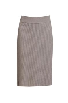 Oatmeal knitted wrap skirt featuring ribbing throughout.  Wrap Skirt by Charlie May. Clothing - Skirts - Pencil Vancouver Canada