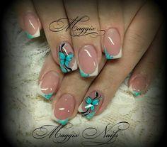 Turquoise glitter - Black - White - Butterflies - Nail design
